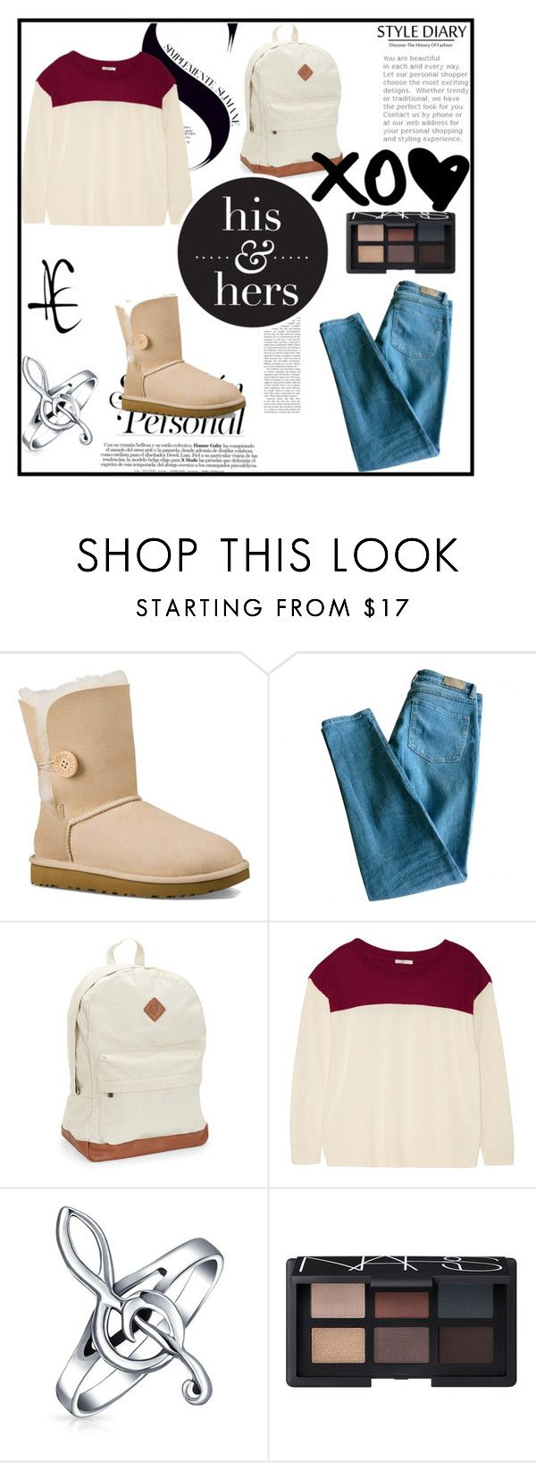 """Back To School"" by cecedavis25-1 ❤ liked on Polyvore featuring UGG Australia, Sandro, Aéropostale, Joie, Bling Jewelry and NARS Cosmetics"