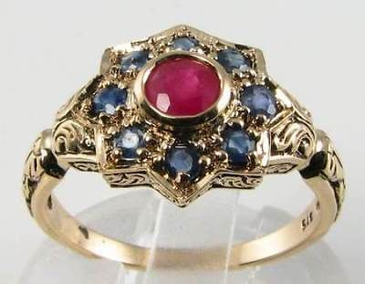 BEAUTIFUL 9CT GOLD VICTORIAN INS NATURAL RUBY & BLUE SAAPHIRE SUN,MOON,STAR RING