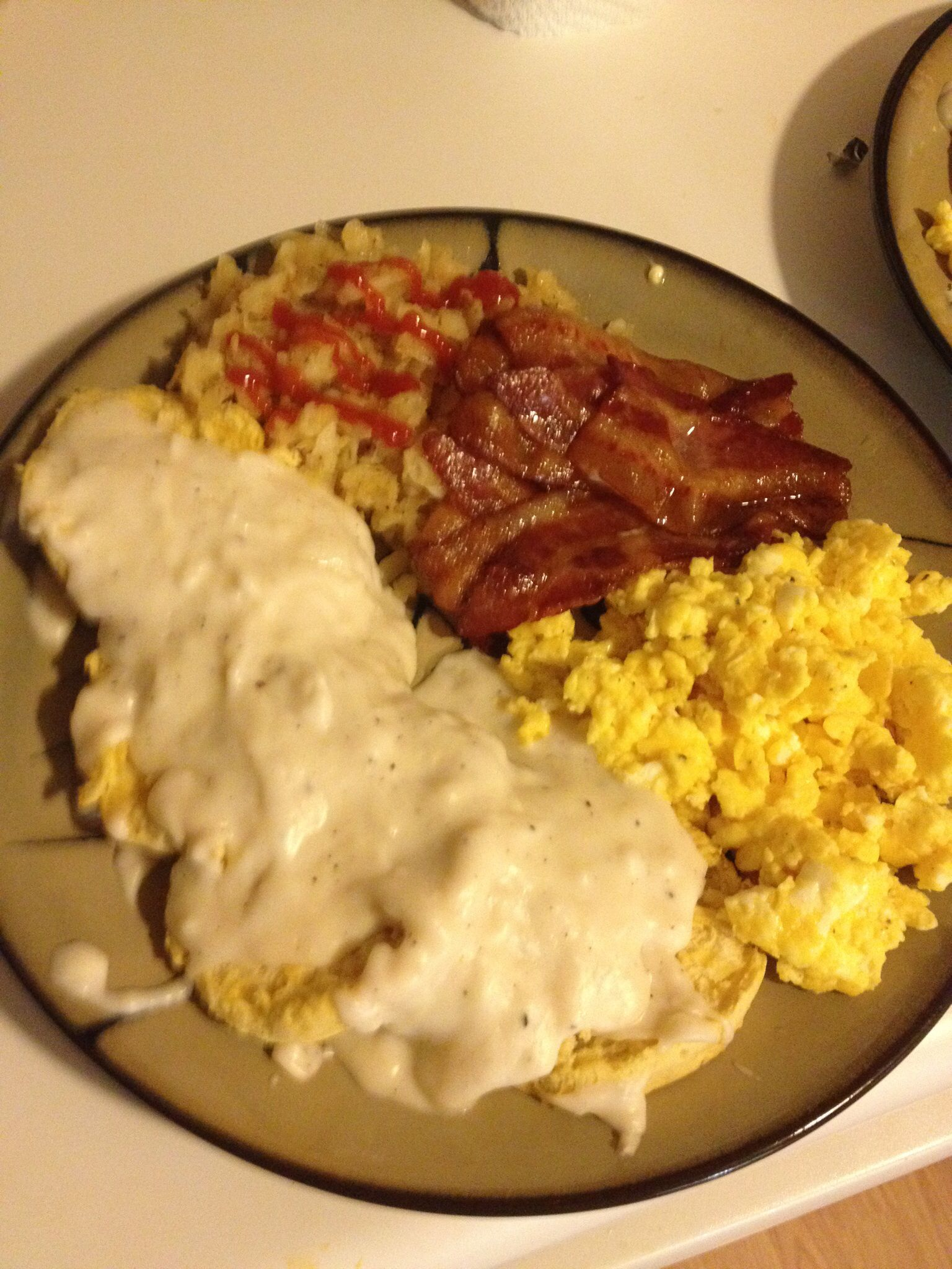 Biscuits And Gravy Scrambled Cheese Eggs Bacon And