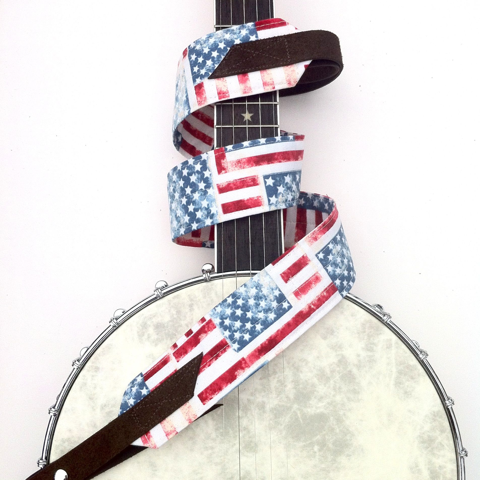 american flag banjo strap handmade straps handcrafted guitar straps banjo straps and ukulele. Black Bedroom Furniture Sets. Home Design Ideas