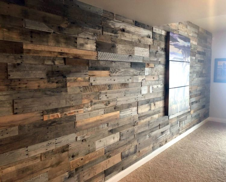 Absolutely Love This Wall Built With Our Prefabricated Pallet Wood Wall Panels Photo Sent In From A Local Miss Wood Panel Walls Wood Pallet Wall Wall Paneling