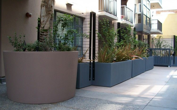 Wire Mesh Screen Enclosure Integrated With Planters {Courtyard Planters At  The Trellis Terrace Condominiums,