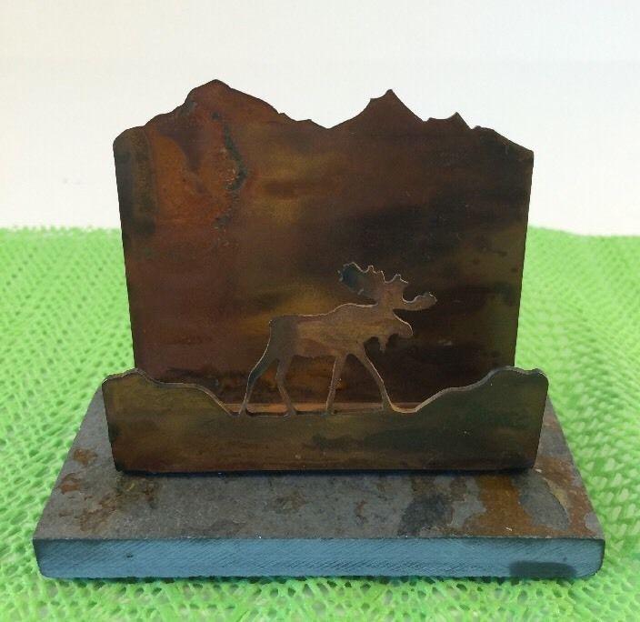 Business Card Holder Metal Moose Natural Stone Base Quarry ...