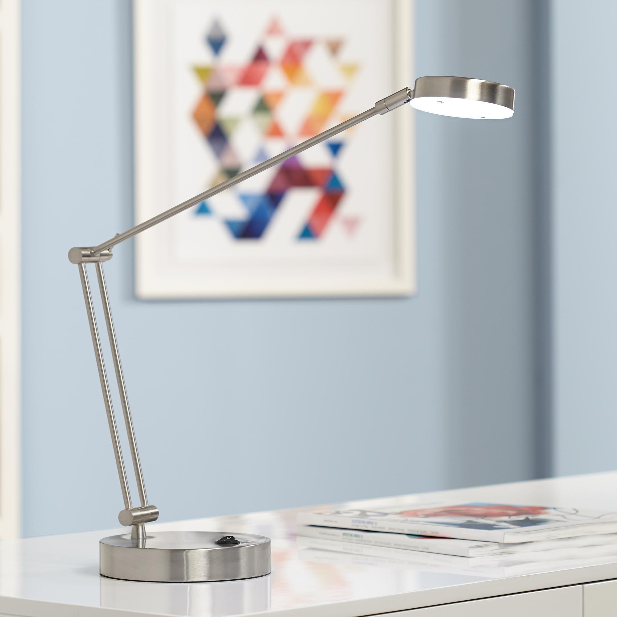 Jarrett Satin Nickel Contemporary Adjustable Led Desk Lamp 3k798 Lamps Plus Led Desk Lamp Desk Lamp Lamp