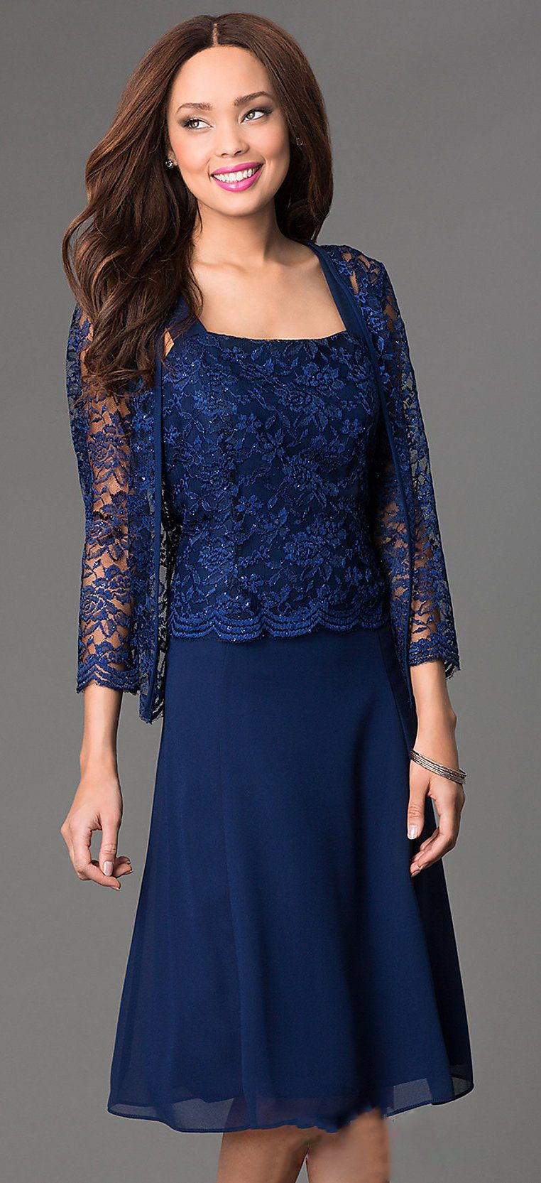 Short Navy Blue Mother of Groom Dress Chiffon Knee Length Lace ...
