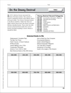 Do The Dewey Decimal Table Practice Page For Grades 4 6 From