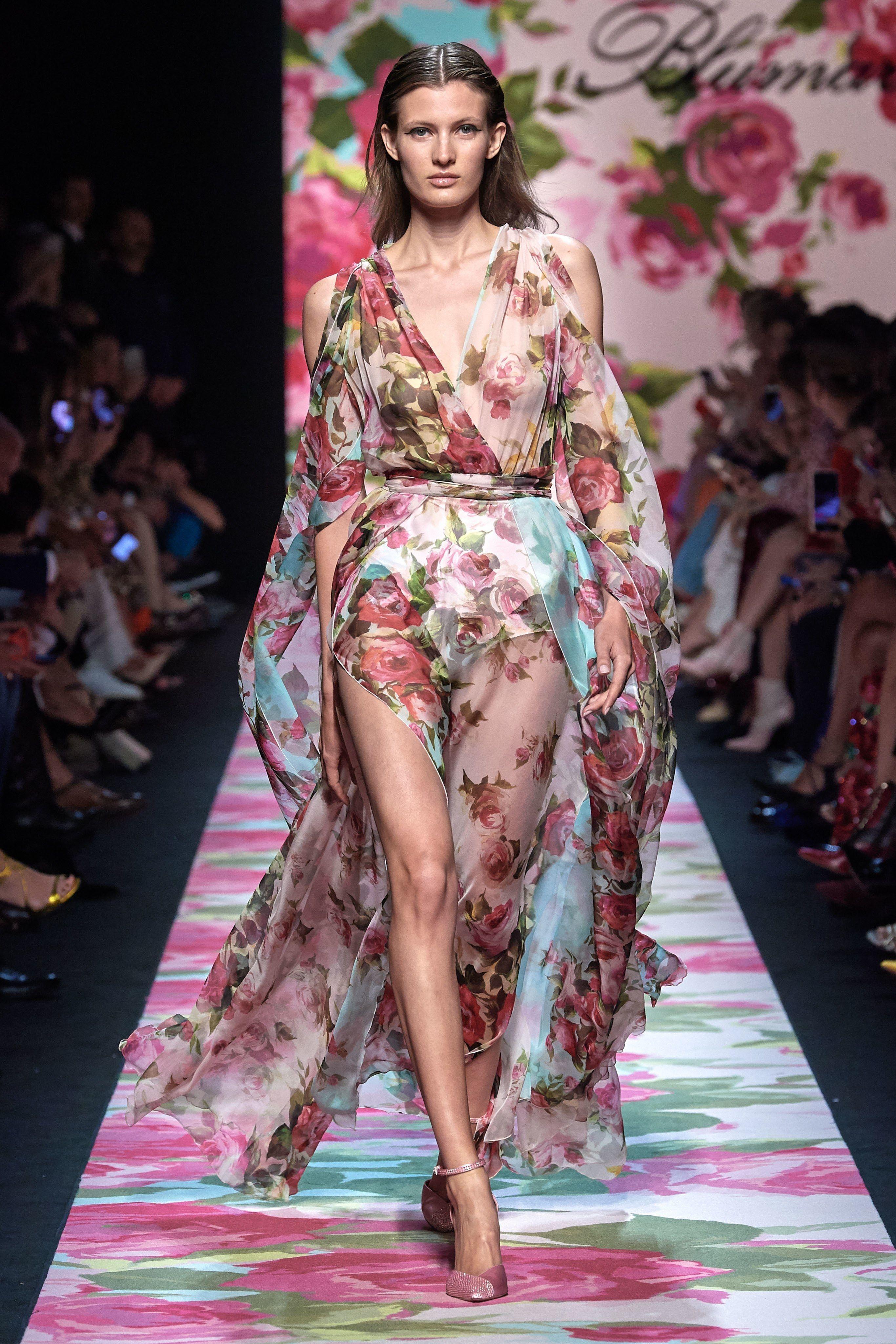 Blumarine Spring 6 Runway Look: Organza Floral Dress  Clothia