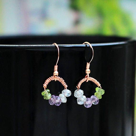 Dainty Quartz Amethyst Peridot Gemstone Circle Earrings in 14K Rose