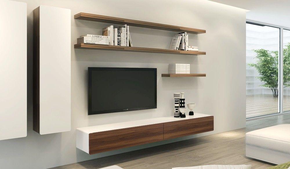 Ikon White + Walnut Floating TV Unit