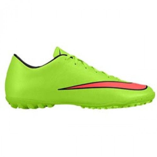 27f36b6d5228 MERCURIAL VICTORY TF -- Mercurial Victory V turf soccer cleats in electric  green hyper punch black and volt colors.