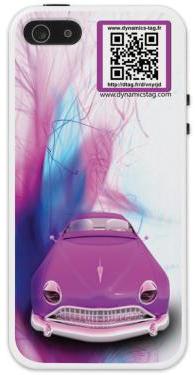 Coque de portable  IPhone 5/5s associée à une carte de visite virtuelle via un qrcode : illustration d'une voiture de collection rose