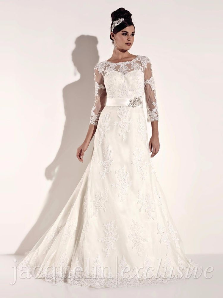 Jacqueline Exclusive Bridal Gown 19931 Ivory Silver Size 14 3 4 Sleeve Lace Wedding Gowns Lace Wedding Dresses Stunning Wedding Dresses