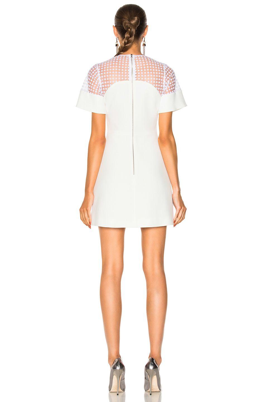 Image 4 Of David Koma Short Flock Sleeve Mini Dress In White