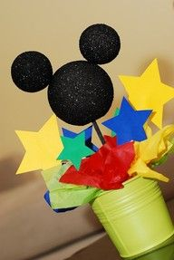 Mickey Mouse centerpiece--Done. Made mickey out of card stock though.