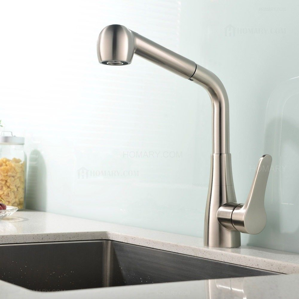 This single handle brushed nickel kitchen faucet with pullout ...