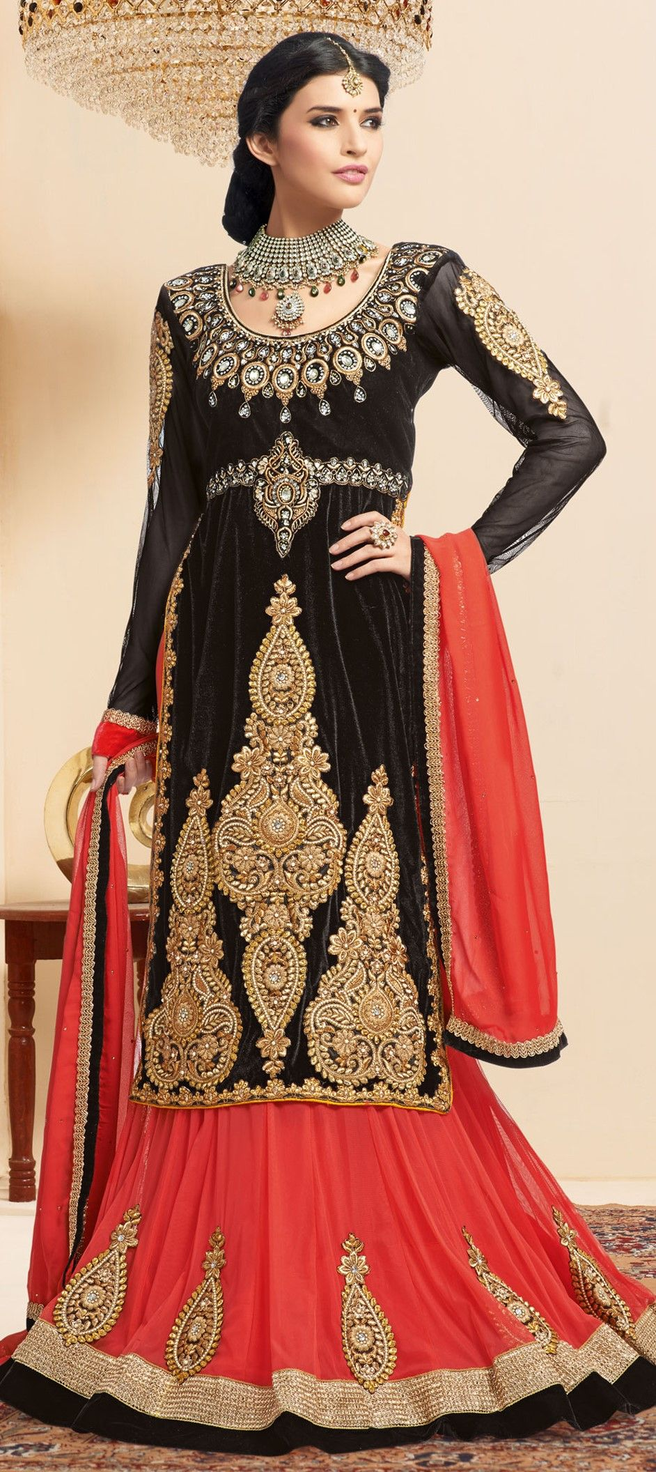 151018: Black and Grey, Red and Maroon color family Long Lehenga ...