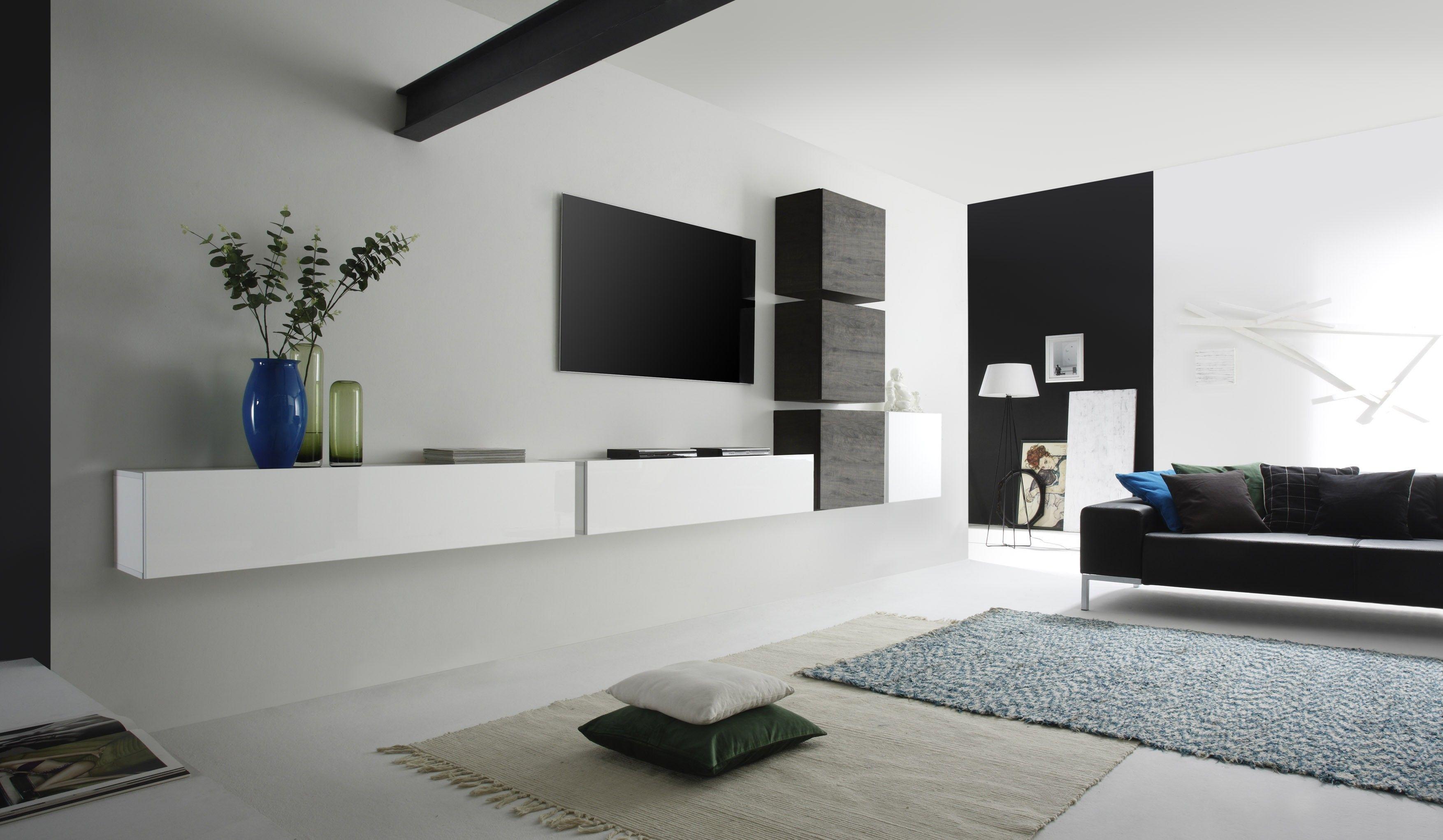 wohnwand weiss lack eiche wenge woody 12 00847 deco pinterest wohnzimmer moderne. Black Bedroom Furniture Sets. Home Design Ideas