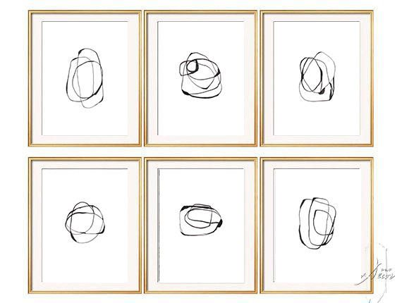 Set of 6 black white abstract art set of 6 prints abstract art