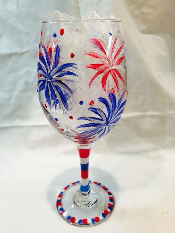 fourth of july hand painted wine glass