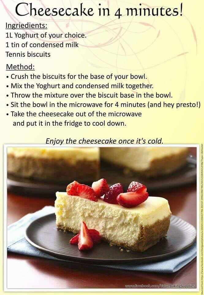 Cheesecake In 4 Minutes Used Plain Double Cream Yoghurt You Can Also Add 120ml Lemon Juice Desserts Quick Cheesecake Tart Recipes