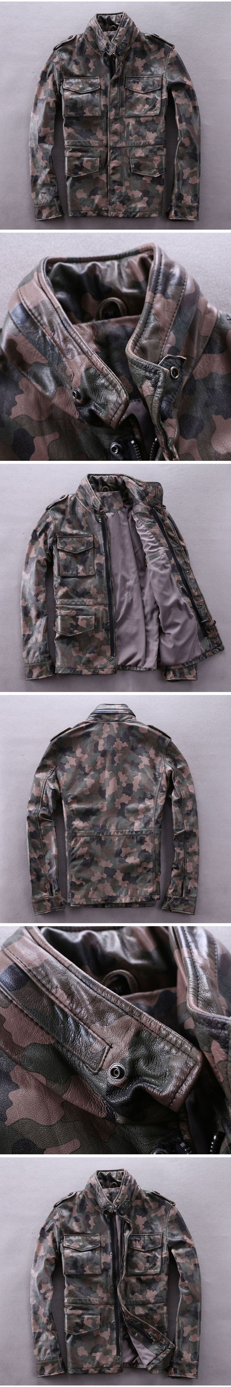 ca6d685c14b 2018 Men Camouflage M65 Leather Jacket Plus Size XXXL Genuine Thick Cowhide  Winter Military Russian Leather