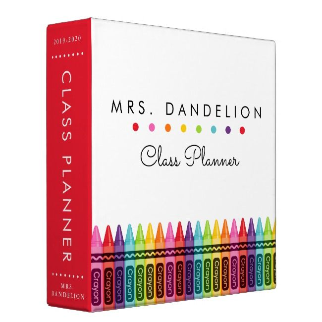 Colorful Crayons Personalized Teacher 3 Ring Binder