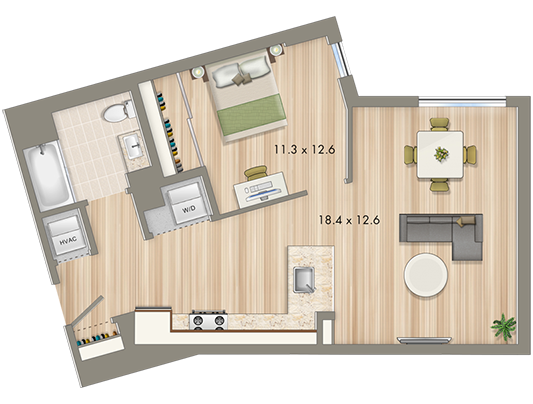 Park Chelsea at The Collective | 1 Bedroom Floorplan | 759 sq ft | Luxury Apartments In Washington DC