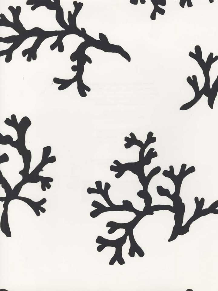 Black and White Coral Wallpaper | AmericanBlinds.com--Concept Candie Interiors now offers e-design services and custom mood boards for only $200 per room!