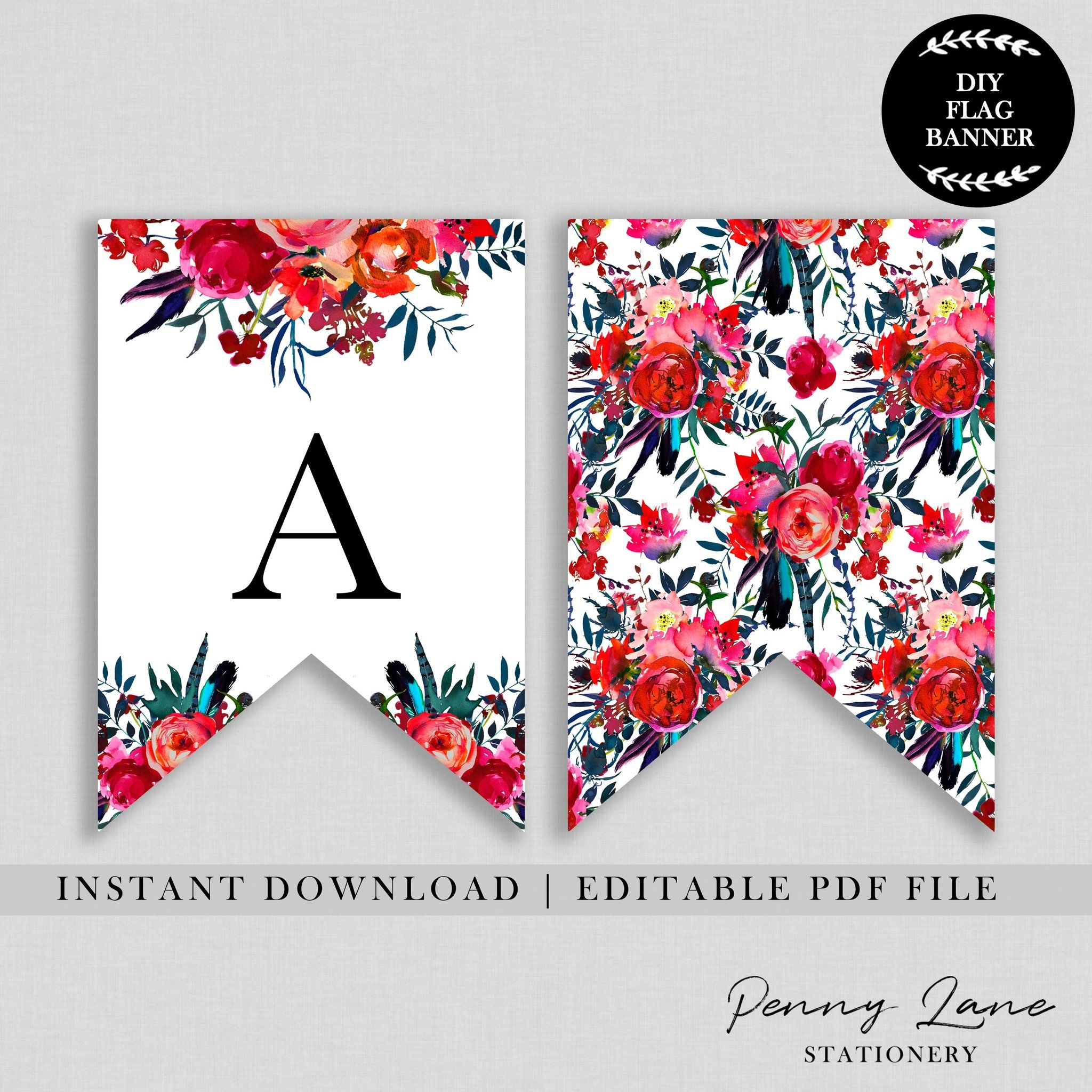 Red Floral Birthday Flag Bunting Banner Birthday Flags Floral Banners Printable Birthday Banner