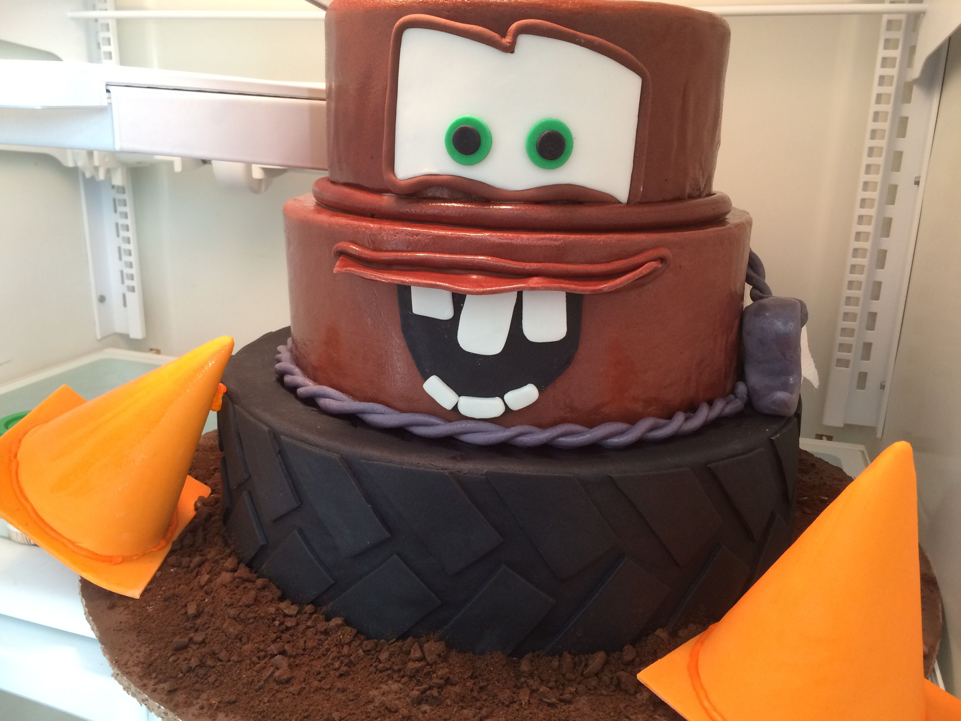 Incredible Tow Mater Cake With Images Cars Birthday Cake Mater Cake Funny Birthday Cards Online Kookostrdamsfinfo