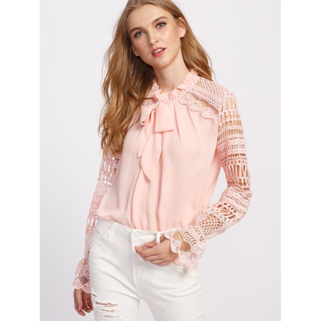 db1cbb5254 Geo Lace Sleeve Frilled Tie Neck Blouse- Stylish women & men bracelets,  sunglasses, tote bags, undewear, apparel, jewelry, sale. Shop Now at  Stylizio.com