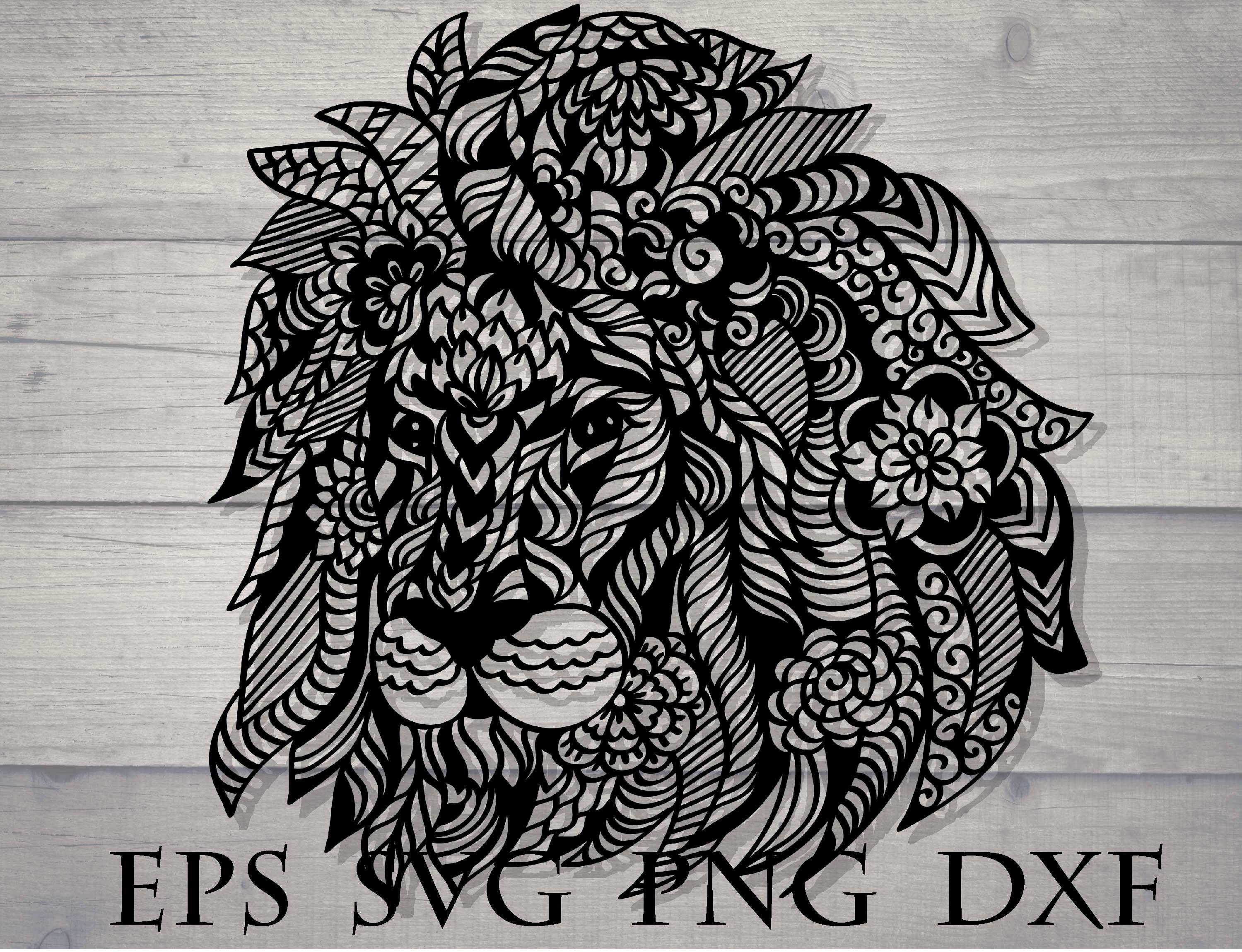 Download Zentangle lion svg | Zentangle, Mandala, Lion drawing