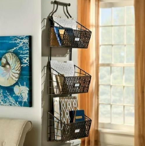 Rustic Antiqued Finish Metal Steel Wire Hanging 3 Basket Wall