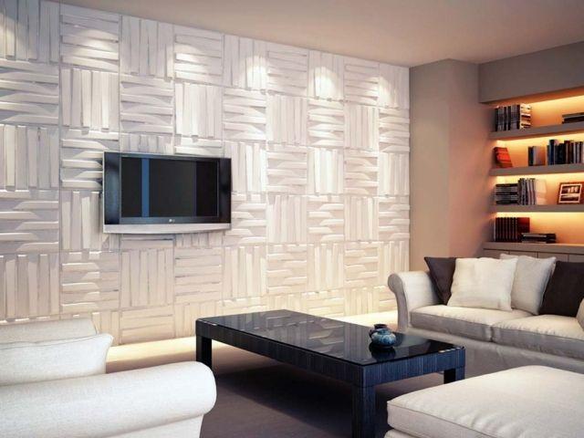 wandplatten weiß quadratisch modernes wohnzimmer tv | projects to ... - Modernes Wohnzimmer Weis