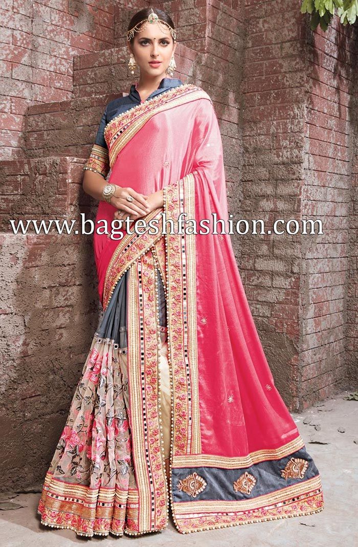 Trendy Pink And Cream Crepe Chiffon And Net Saree