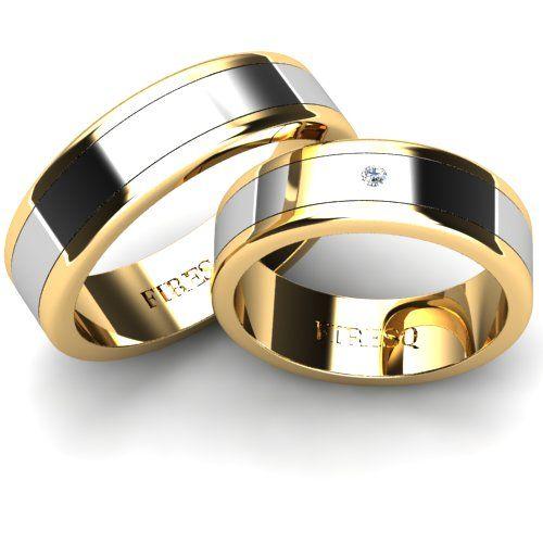 Set Verighete Aur Galben In Combinatie Cu Aur Alb Cu Profil Plat