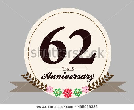 62 years anniversary logo with oval shape, flower, and ribbon. anniversary for birthday, wedding, celebration, and party