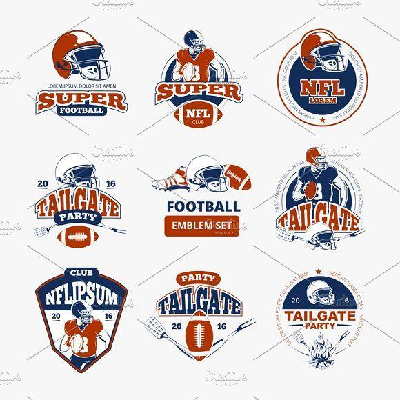 American Football Vector Emblems Set American Football Football
