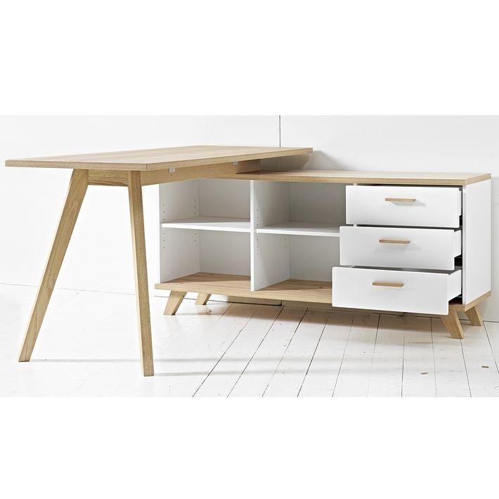 Bureau d 39 angle blanc design bois au style scandinave chez bureau bureau angle bureau et - Bureau bois scandinave ...