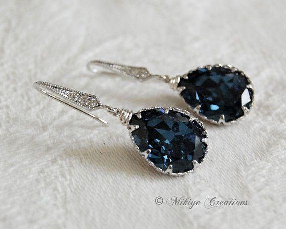 36623a563 Tear drop earrings   blue wedding theme   Blue bridal, Earrings ...