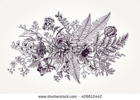 Line Drawing Flower Vector : Bouquet with a garden flowers and leaves in vintage style. vector
