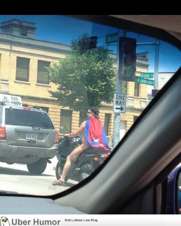 """This guy is frequently spotted in Madison Wisconsin, he is referred to as """"Thong Cape Scooter Man"""""""