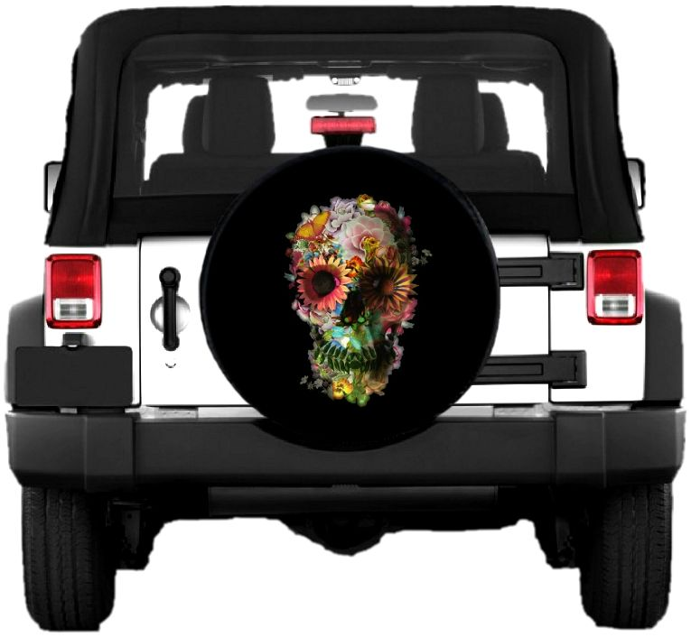 Spare Tire Cover With Flower Skull With Images Spare Tire
