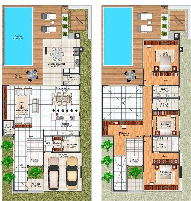 Plano de casa de 290 m2 casas pinterest planos de for Planos de albercas