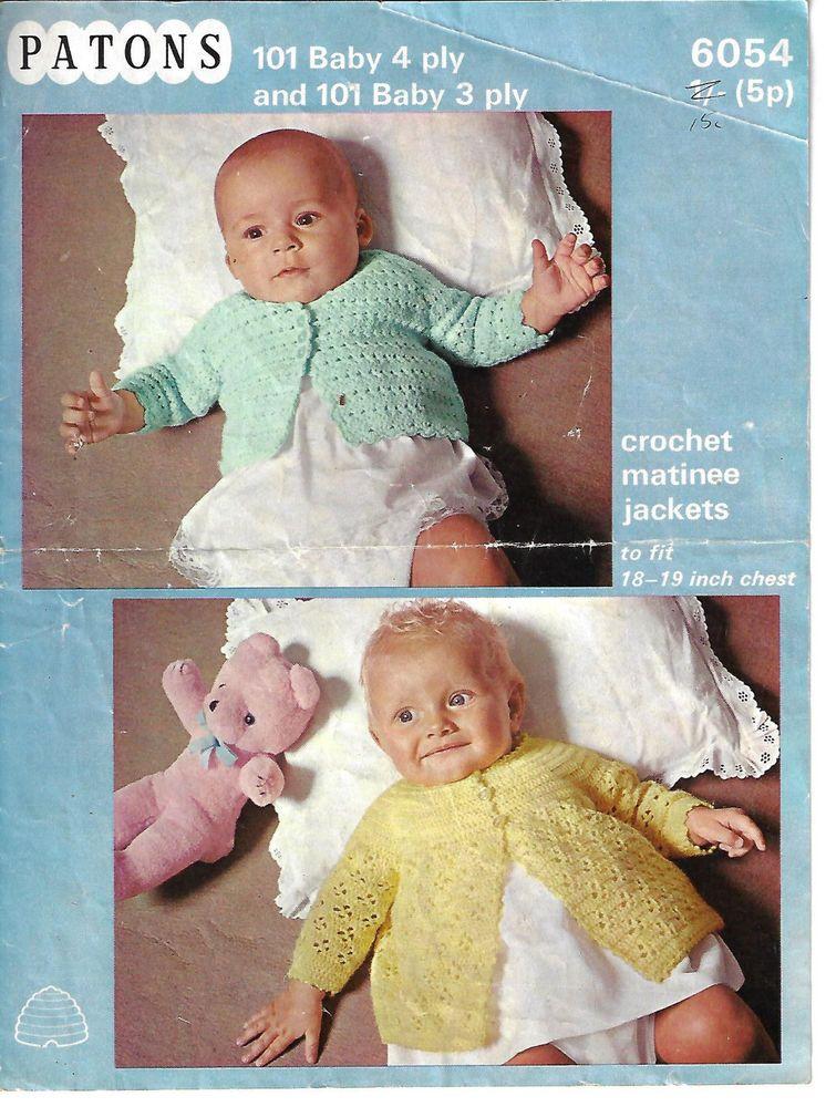 Baby Crochet Matinee Coats Patons 6054 Vintage Crochet Pattern 3 4