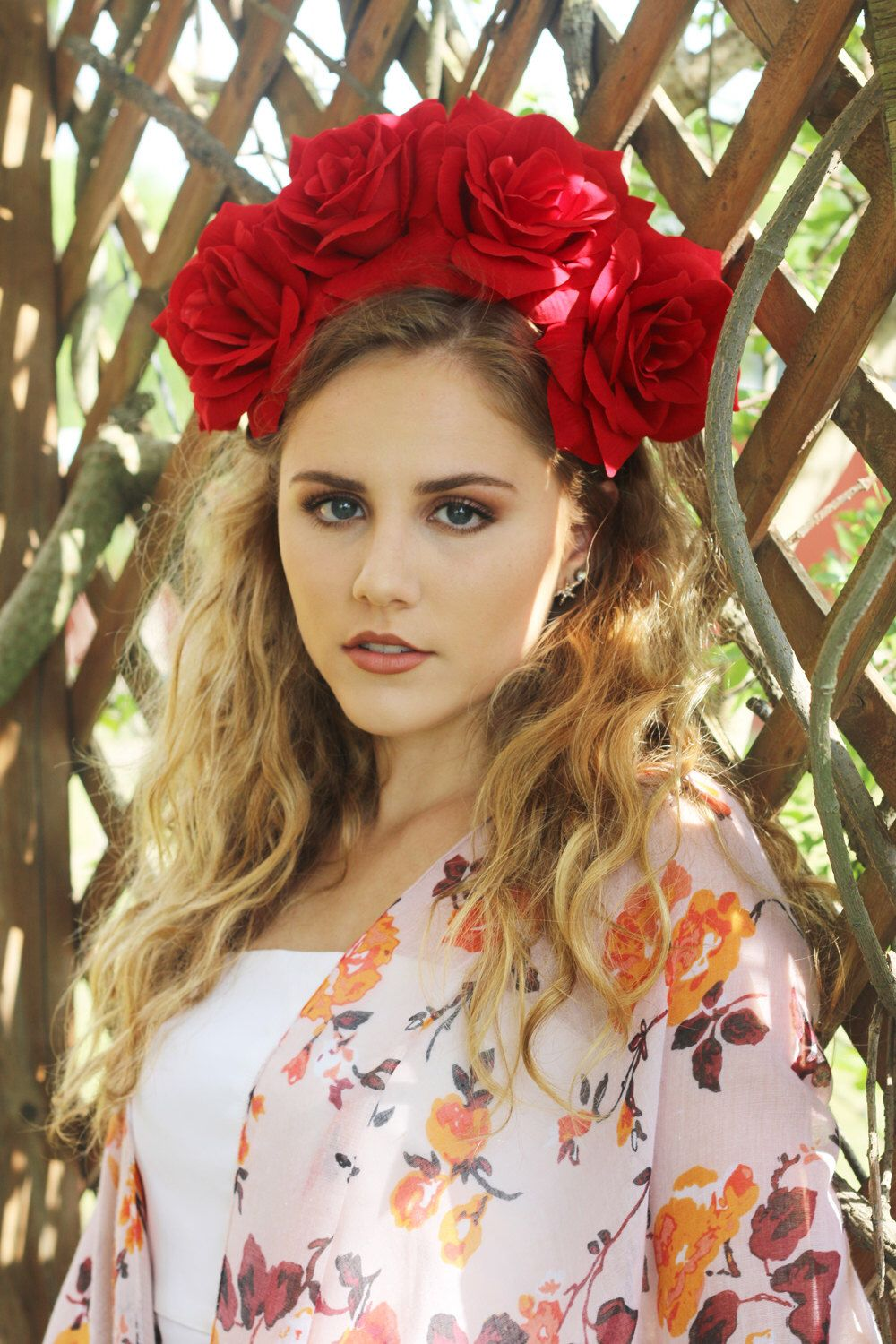 ?? Large Red Rose Flower Crown Headband (Bridal Headpiece ...
