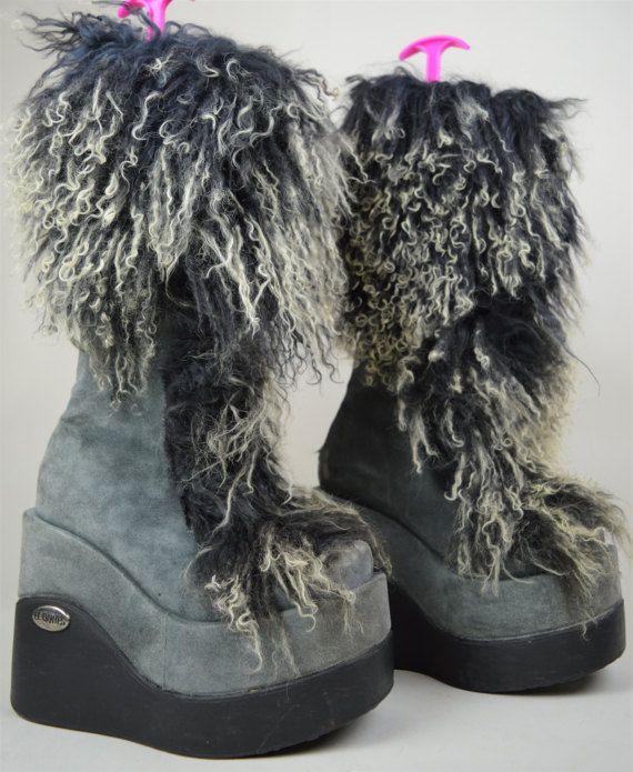 Grey Mongolian Dantes Sheepskin 90s Shaggy by El Blue PkZulwiOXT