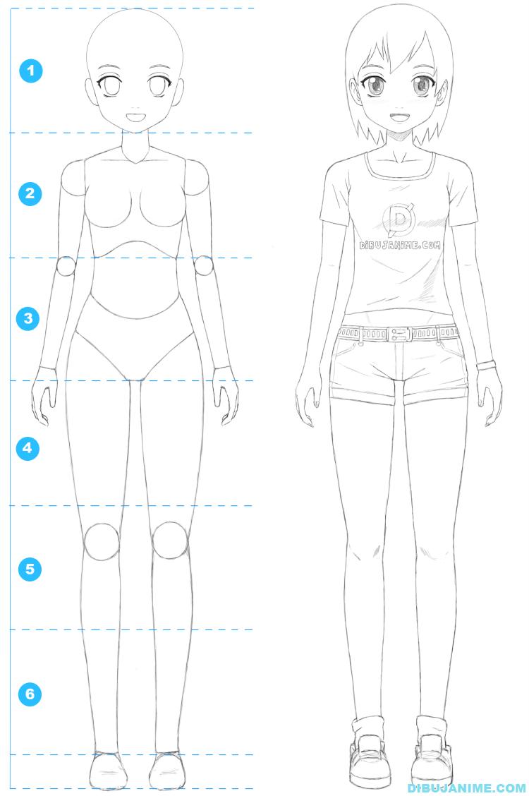 Como Dibujar A Una Mujer Anime Cuerpo Y Rostro Paso A Paso