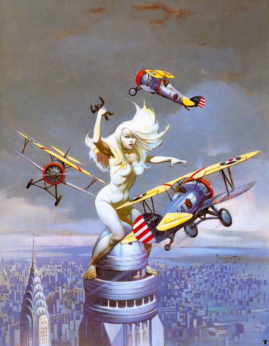 1996 Frank Frazetta Space Women Lot set of 5 different art print lithographs