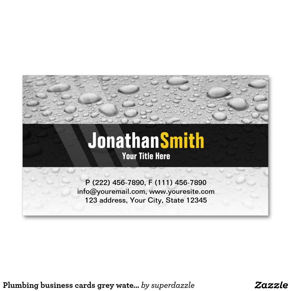 Plumbing business cards grey water drops | Water drops, Business ...